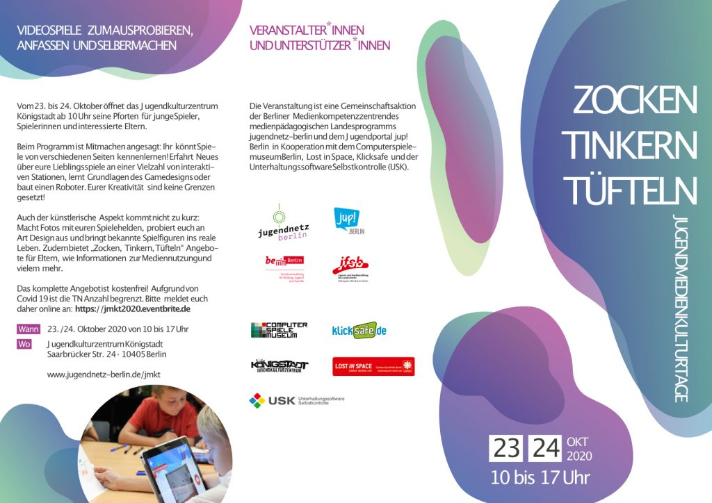 Jugendmedienkulturtage 2020 flyer